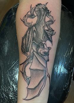 Black and Grey Bat tattoo
